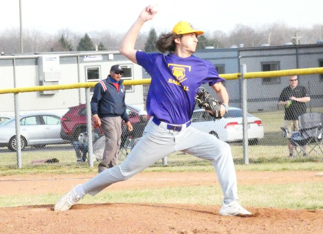 Bloom-Carroll senior Nick Feasel pitches during last Tuesday's scrimmage at Licking Heights.