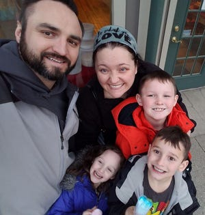 Ashley Shaw of Newark is shown with her family: husband Scott, sons Kaiden and Korbin, and daughter Gracelynn.