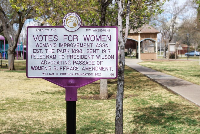 The League of Women Voters of Southern New Mexico has installed a National Votes for Women trail marker at Pioneer Women's Park for Women's Suffrage on Wednesday, March 24, 2021.