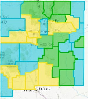New Mexico's latest update COVID-19 county risk map, March 24, 2021