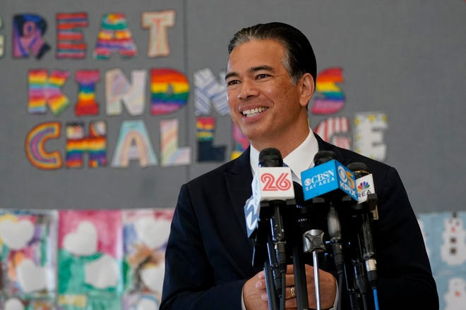 In this March 16, 2021, file photo, California State Assemblyman Rob Bonta speaks at Ruby Bridges Elementary School in Alameda, Calif. On Wednesday, March 24, 2021, Bonta was named California's next attorney general by California Gov. Gavin Newsom.
