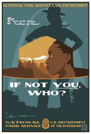 A series of four recruitment posters were released as part of a National Park Service hiring initiative aiming to recruit diverse candidates directly to permanent law enforcement ranger jobs in various parks in March 2021. The posters illustrate a new image for the NPS' law enforcement staff, depicting women, people of color and a same-sex couple amid backdrops of joshua trees and the historic Stonewall Inn.