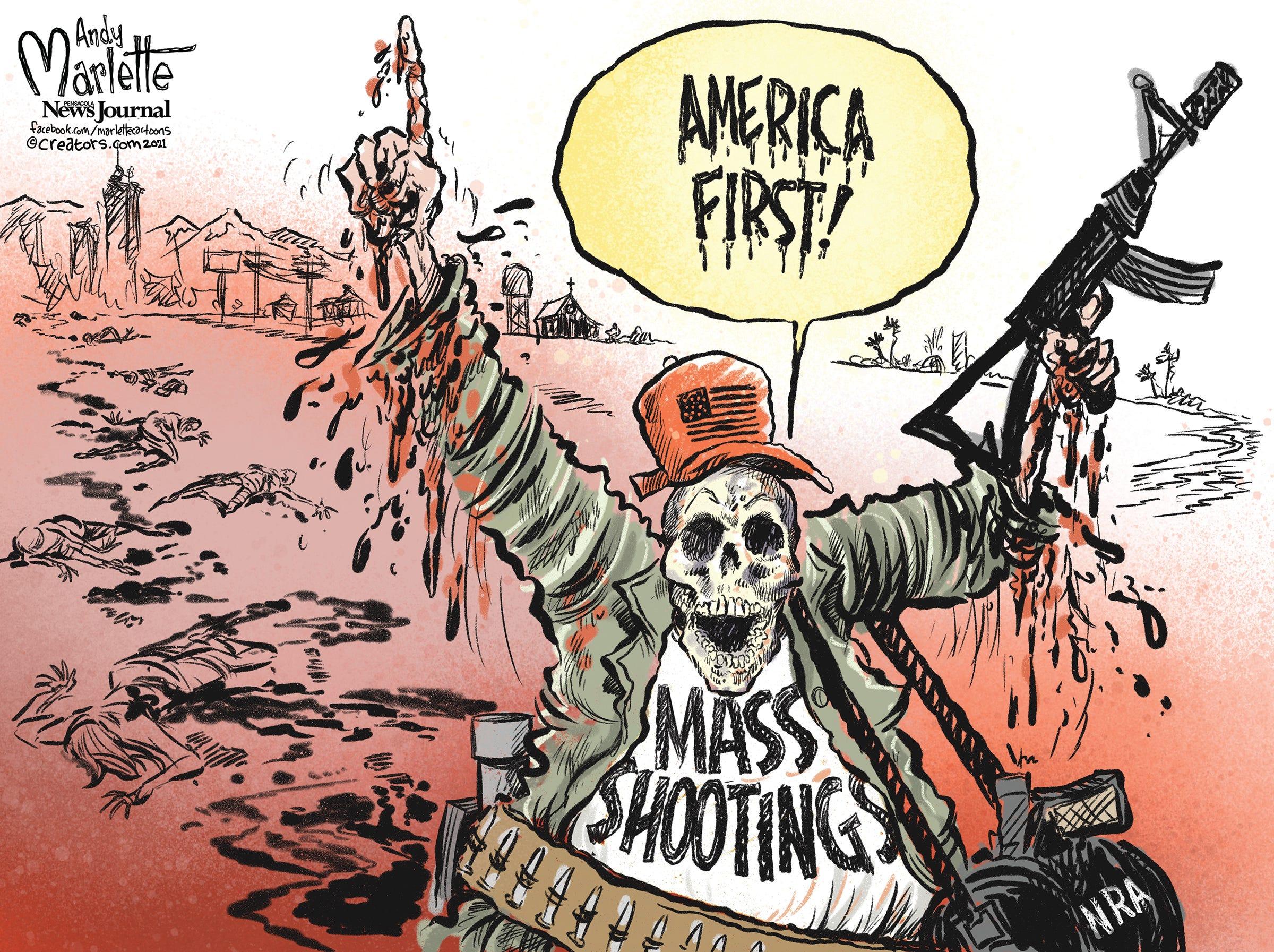 Marlette cartoon: America First! (in mass shootings)