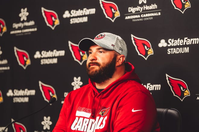 Arizona Cardinals player Brian Winters is introduced to the media.