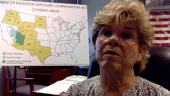 """Mohave County Supervisor Jean Bishop testifies on March 24, 2021, to a panel within the House Judiciary Committee about the need to expand time and coverage for the """"downwinders"""" who live near the nation's nuclear test sites and are affected by cancer from radiation exposure."""