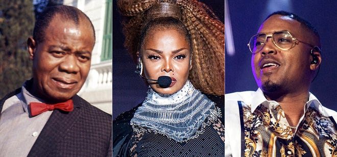 From left, jazz musician Louis Armstrong appears in Rome in 1968,  Janet Jackson performs at the Essence Festival in New Orleans on July 8, 2018, and Nas performs at the Essence Festival in New Orleans on July 6, 2019. Recordings by the three musicians are among 25 new entries to the National Recording Registry this year.