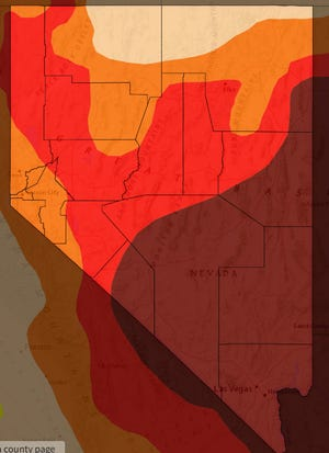 "All of Nevada is in a moderate drought, and nearly half of the state is facing ""extreme"" drought conditions."