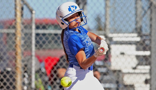 Lake View's Ava Velez takes a swing at the plate during a game against Sweetwater on Tuesday, March 23, 2021.