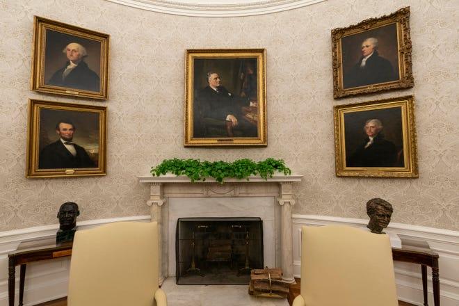 President Joe Biden's Oval Office decor, including a painting of former President Franklin D. Roosevelt over the mantle, on Jan. 20, 2021.