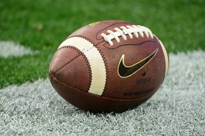 General view of a football prior to a game.
