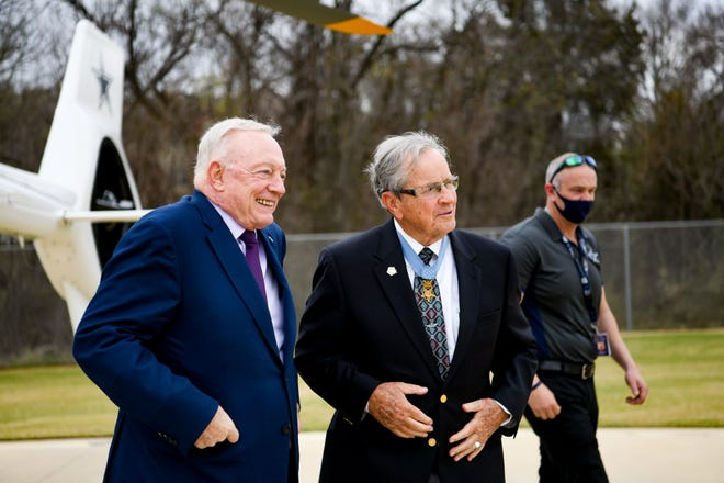 Cowboys owner Jerry Jones and Medal of Honor recipient Maj. General Pat Brady recently toured the area near Arlington, Texas, where the new National Medal of Honor Museum will be built.