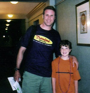 "Houston Tumlin poses with ""Talladega Nights"" co-star actor Will Ferrell."