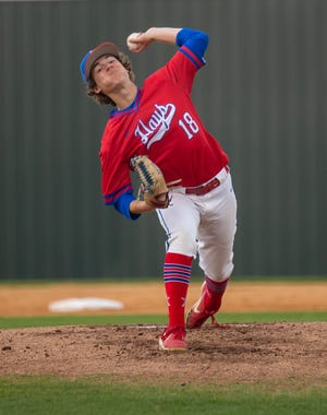 Hays' Tyler Cooper, pitching against Lake Travis, will play next season at Texas State University.