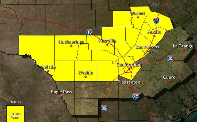 A tornado watch has been issued for the Austin area until 4 a.m. Thursday, according to the National Weather Service.