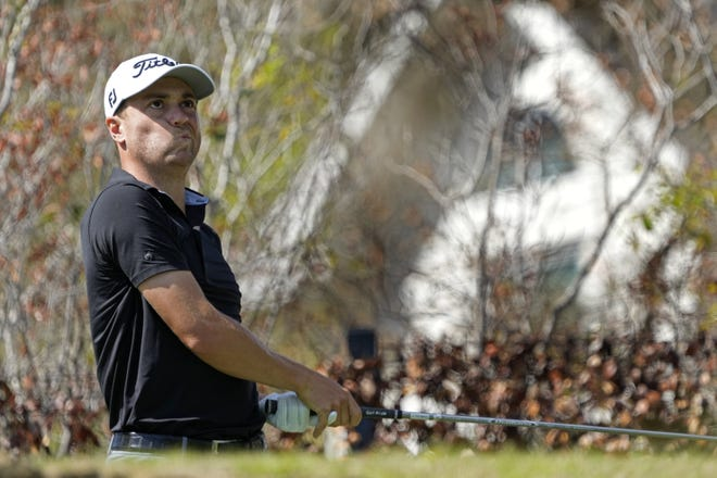 Justin Thomas watches his tee shot on the fifth hole Thursday at the WGC-Dell Technologies Match Play tournament at Austin Country Club. Thomas, the No. 3 player in the world, couldn't overcome a slow start and was eliminated.