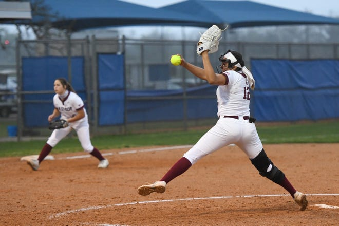 Bastrop starter Mayra Robles fires a pitch against Cedar Creek during the Bears' 16-6 win over the crosstown rivals Wednesday. Robles had a complete game and picked up the win in the circle.