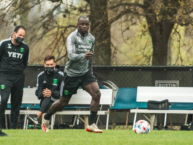 Austin FC winger Kekuta Manneh eyes a pass during a recent training session at St. Edward's University. The former Lake Travis High School student signed with the club in the offseason.