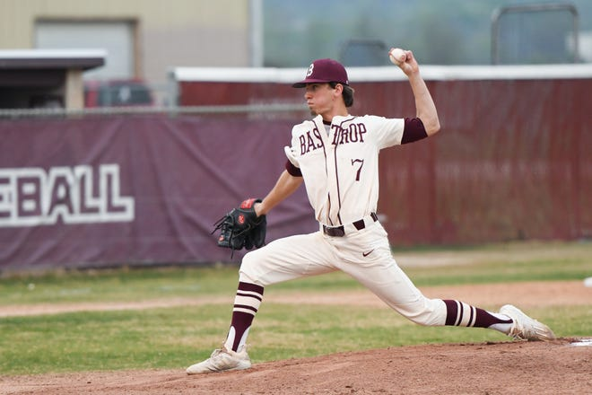 Bastrop's Reagan Hibbs looked strong in a road start on Tuesday versus Weiss. He pitched a complete game in a 3-2 win.