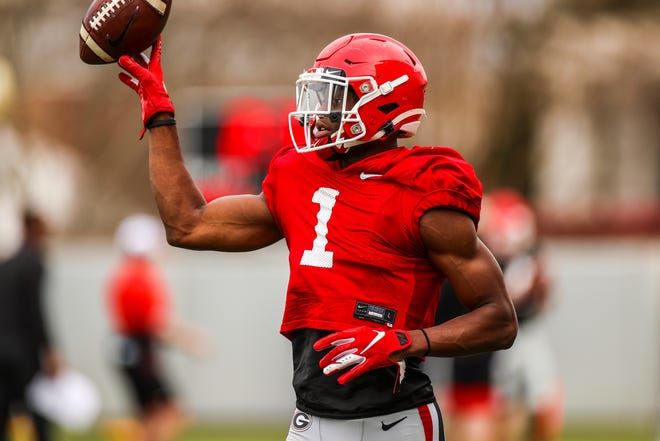 Georgia wide receiver George Pickens (1) during the Bulldogs' practice session in Athens, Ga., on Tuesday, March 23, 2021. (Photo by Tony Walsh)