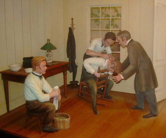A scene at the Crawford Long Museum in Jefferson showing Dr. Long using ether as an anesthesia during a medical procedure.