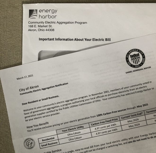 Akron residents enrolled in the city's electric aggregation program through Energy Harbor were recently mailed this notice about its pricing and an upcoming deadline for those who wish to opt out.