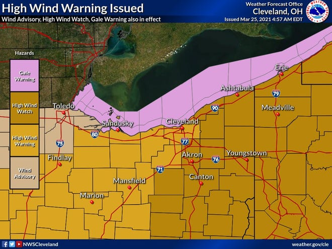 High winds are expected to arrive late Thursday night.