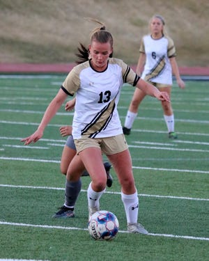Lily Sobey, a member of the Amarillo High Lady Sandies soccer team, participates in a recent game. The Lady Sandies will face Lubbock Cooper in the first round of the playoffs Friday evening.