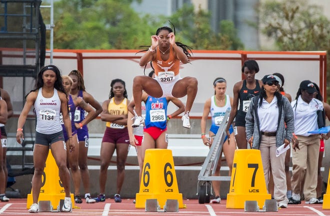 """Texas' Kynnedy Flannel warms up before the 100-meter dash at the 2019 Texas Relays at Myers Stadium. """"When I was a freshman, everything was new,"""" Flannel said ahead of this year's Relays. """"I feel like I'm growing up now. I'm way more mature. The stage is very familiar now."""""""