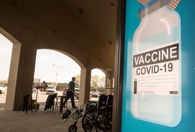 People head into the former Stein Mart store on Washington Road in Augusta, Ga. Thursday morning March 25, 2021, for Augusta University's COVID-19 vaccination clinic. Georgia has now opened up COVID-19 vaccination to anyone 16 and over, which is more than 8.1 million people.