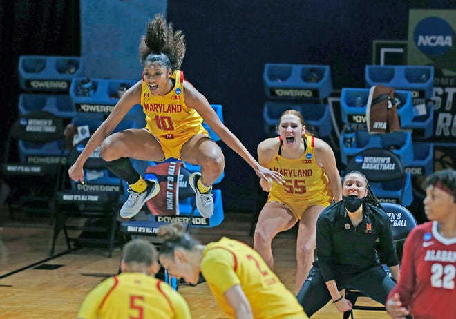 Maryland players including Angel Reese (10) couldn't be more excited about the Terrapins' play thus far in the women's NCAA Tournament. Maryland is one of four Big Ten programs to qualify for the Sweet 16.
