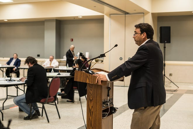 Mike LaRussa, chairman of the Terrebonne Parish Recreation Modernization Advisory Board, addresses the Terrebonne Parish Council Wednesday night.