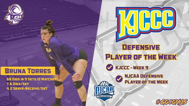 NJCAA and KJCCC name DCCC Conquistador volleyball's Bruna Torres as the Defensive Player of the Week.