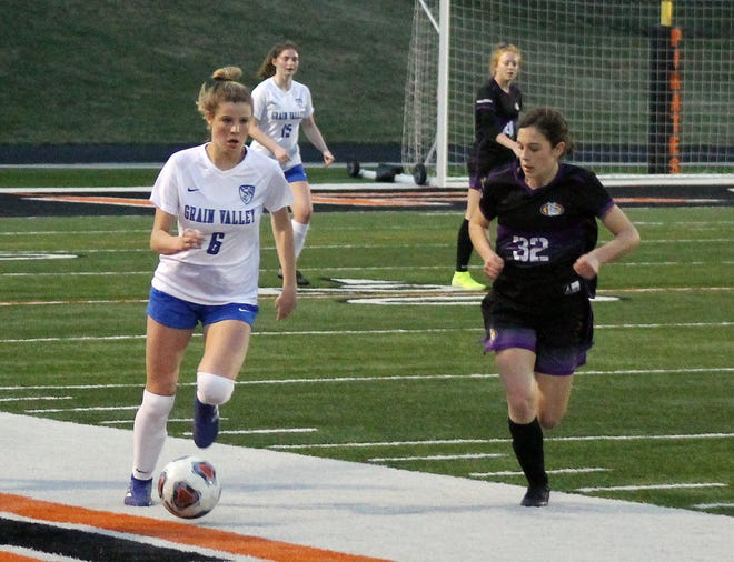 Grain Valley's Raena Childers (6) moves the ball down field in Wednesday's game against Kearney in the Platte County Tournament. Childers scored both goals as the Eagles snapped a losing streak to the Bulldogs that dated back to 2017 with a 2-1 win to advance to the tourney's championship.