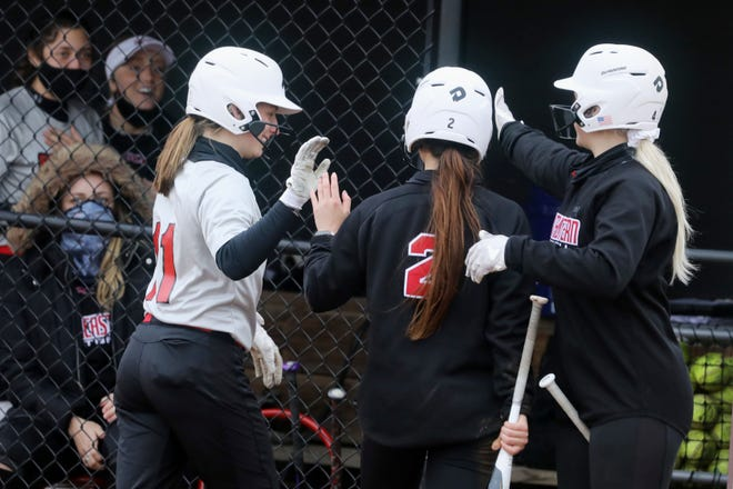 Southeastern Community College's Makayla Cam (2) is congratulated by teammates after scoring during the second game of a  double header against Kirkwood Community College Wednesday March 24, 2021 at SCC's Wagner Athletic Complex.