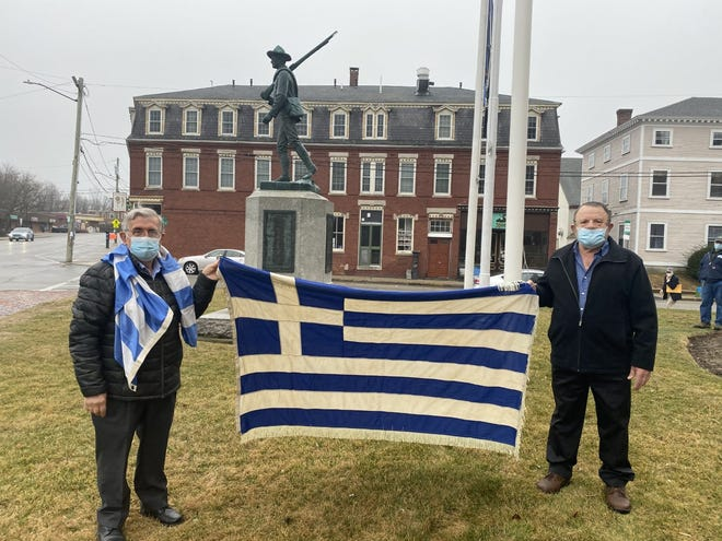 Dover Greek community celebrates Bicentennial of Greek independence with a flag-raising ceremony at Dover City Hall Thursday, March 25, 2021.