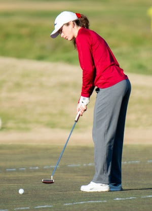 len Rose's Kylie Frush, seen here in action earlier in the year, shot a 93 on Monday to place second in the Glen Rose District Preview at the Links Course at Squaw Valley Golf Course.