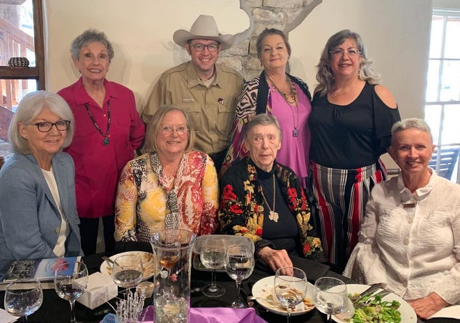 From left, Helen Kerwin, Lila Carter, Susan Bruce, Kelby Bridwell from Dinosaur Valley State Park, Dorothy Gibbs, Ann Carver, Kelly Harris and Leta Yocham pose for a shot during the first-ever Women in Somervell County History luncheon Wednesday at Barnard's Mills. Kerwin, former mayor and county commissioner and owner of Country Woods Inn, and Yocham and Gibbs, of LDL, a nonprofit founded in Somervell County, were the featured guests.