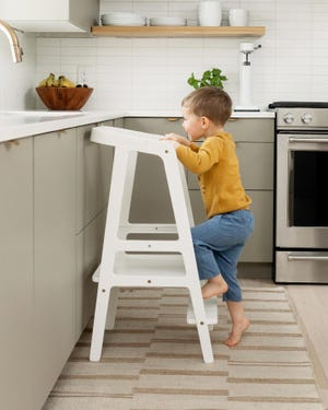 The Oslo Tower is the only product currently sold through Audwell, a children's furniture company created by Holland local Lauren Maat. The tower is an aesthetically-pleasing solution to letting small children help in the kitchen.