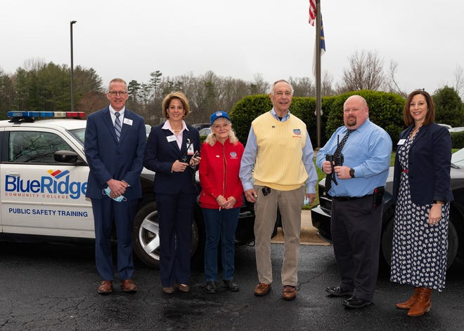 Shown from left are Scott Queen, VP of Economic Development; BRCC President Laura Leatherwood; Sharon Hanson and Ron Kauffman, VP and president of STAND T.A.L.L.; Philip Hosmer, dean of Public Safety Training at BRCC; and Lisa Adkins, VP of the TEDC.