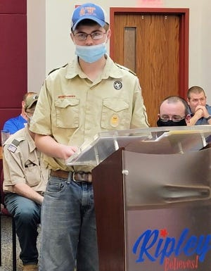 Boy Scout Wyatt Ridenour presents his Eagle Scout proposal of adding 10 benches to the West Side Park to Ripley City Council.