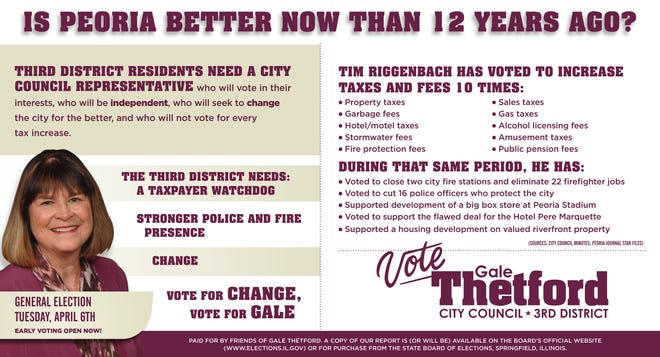 One side of a mailed advertisement sent by former Peoria City Councilwoman Gale Thetford in her race against Third District Councilman Tim Riggenbach.