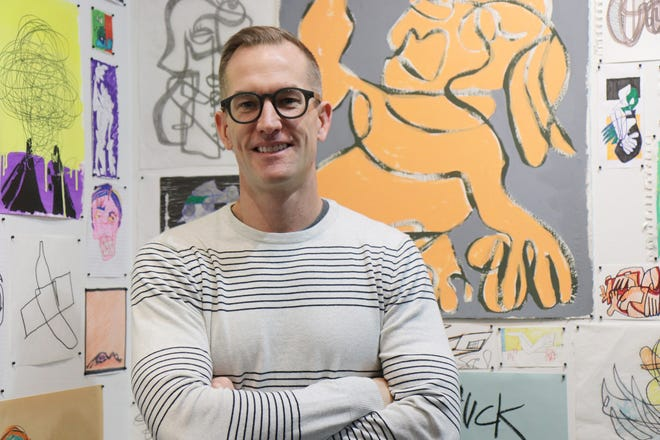 """Artist Aaron Jackson Bowman explores the many meanings of the word """"line"""" in his new exhibit by the same name at Carriage Factory Art Gallery, 128 E. Sixth St. in Newton."""