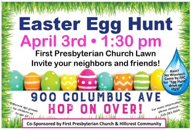 First Presbyterian Church of Newton will host an Easter Egg Hunt on April 3.