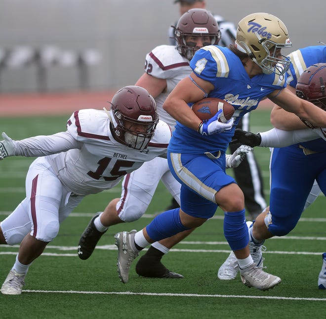 Bethel senior Dominique Copeland goes after a Tabor ball carrier during play from earlier this spring. Bethel ends the regular season at 1 p.m. Saturday against Kansas Wesleyan. Bethel has already clinched the KCAC regular-season title and an NAIA playoff berth.