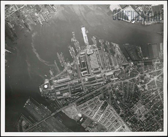 This is an aerial view of the Charlestown Navy Yard as it was in 1941. Learn more from Digital Commonwealth at www.digitalcommonwealth.org.