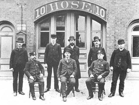 Members of Hose Company 10 are in front of the firehouse at 330 Dorchester St. in South Boston as it was around 1880. To learn more, visit the Boston Fire Historical Society's website at bostonfirehistory.org.