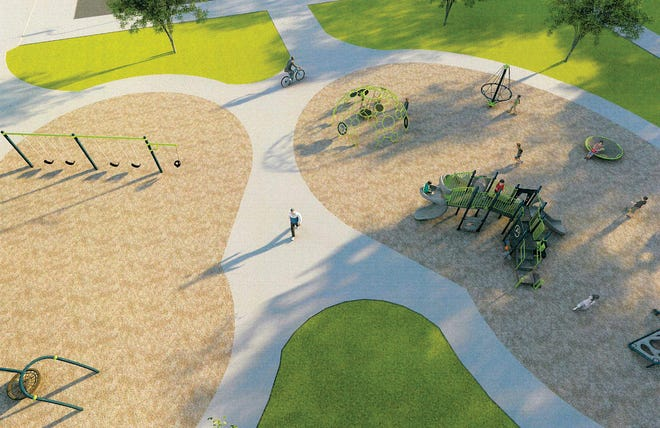 This is a rendering of an aerial view of playground equipment that is being purchased for Bob Dougherty Park. Leavenworth city commissioners approved the purchase when they met Tuesday.