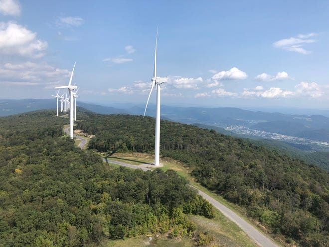 """The Pinnacle Wind Farm, located along Green Mountain above Keyser, is currently undergoing a """"repowering"""" project."""