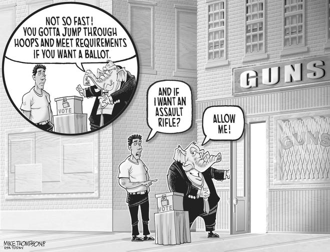 A Mike Thompson cartoon about Republican gun and election policies