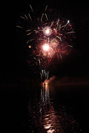 Fireworks are traditionally set off from the shores of Lake Siskiyou in Mount Shasta on the evening of the Fourth of July.